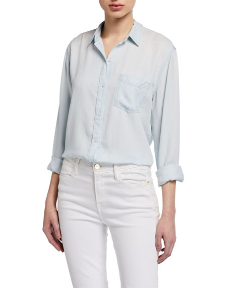 Ingrid Raw-Edge Button-Front Top