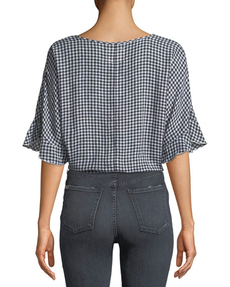 Athena Gingham Wrap Top