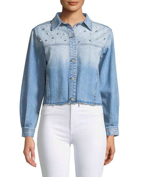 Rylan Studded Cropped Denim Jacket