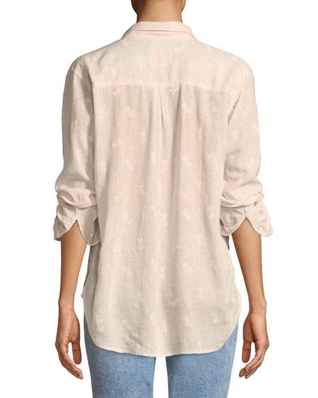 Charli Pineapples Linen-Blend Button-Front Shirt