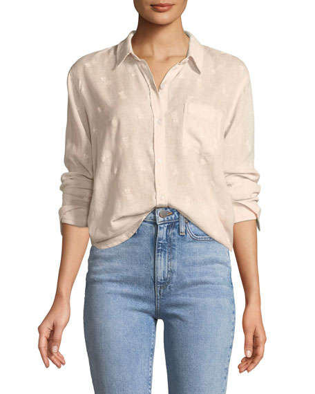 Charli Pineapples Linen-Blend Button-Front Shirt