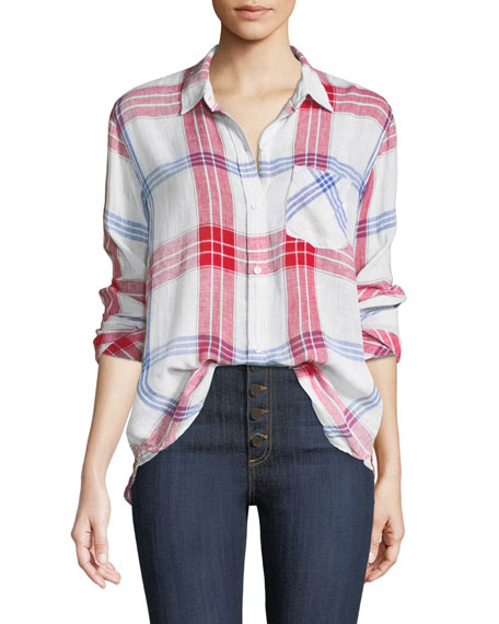 Charli Linen-Blend Check Button-Front Pocket Shirt