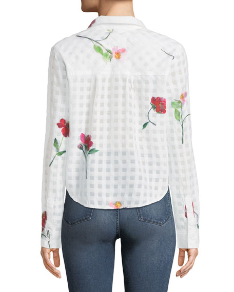 Kelsey Floral-Print Cotton/Silk Tie-Front Shirt
