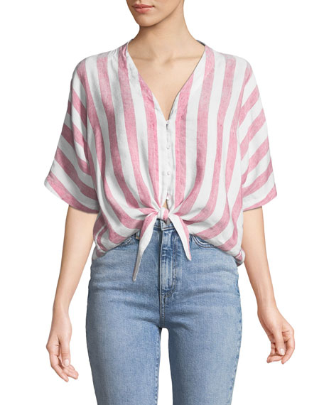 Thea Striped Tie-Front Top