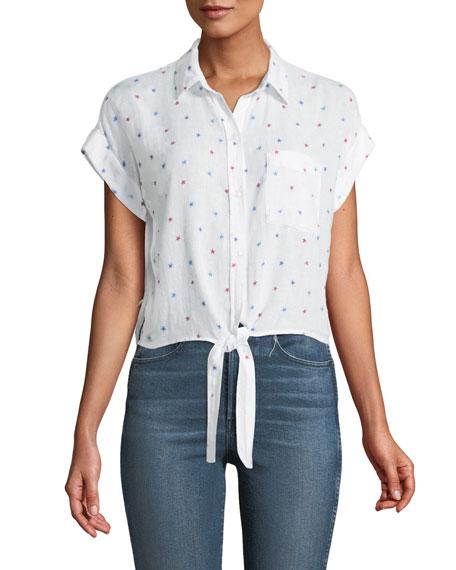 Amelie Star-Print Tie-Front Top