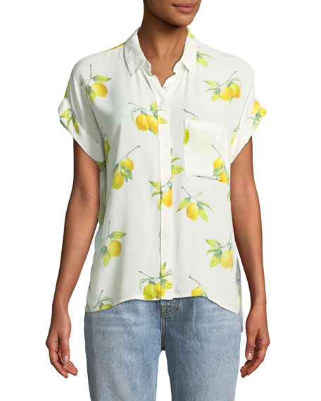 Rails Whitney Lemon-Print Button-Front Shirt