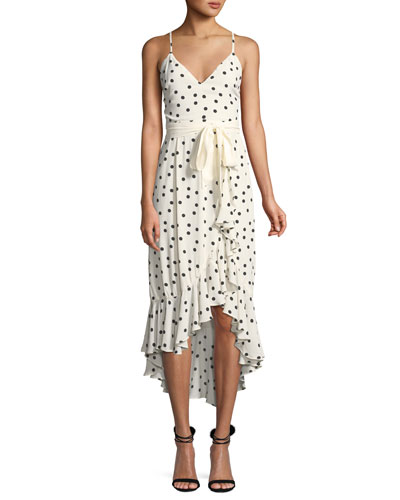 Bridget Dot-Print Flounce Midi Dress