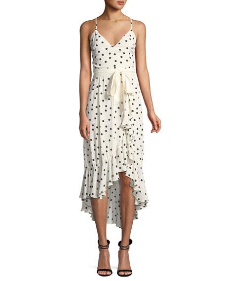 Lovers And Friends Bridget Dot-Print Flounce Midi Dress