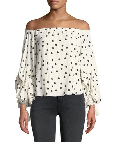 Emery Off-Shoulder Gathered Dot-Print Blouse