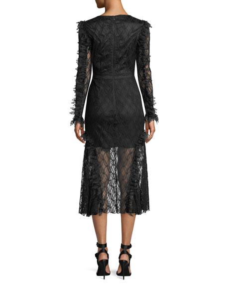 Pursue Long-Sleeve Lace Midi Dress
