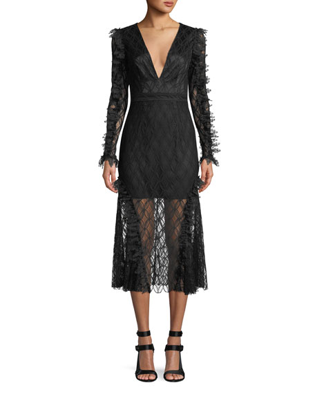 La Maison Talulah Pursue Long-Sleeve Lace Midi Dress