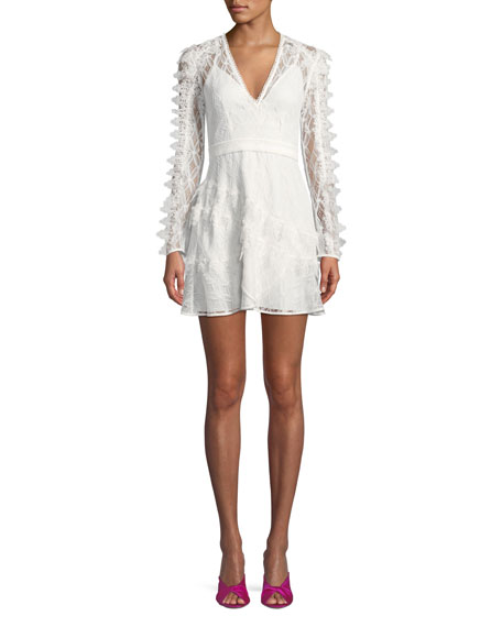 La Maison Talulah Pursue Long-Sleeve Lace Mini Dress