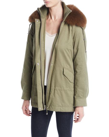 Long-Sleeve Cinched-Waist Parka w/ Fur Collar