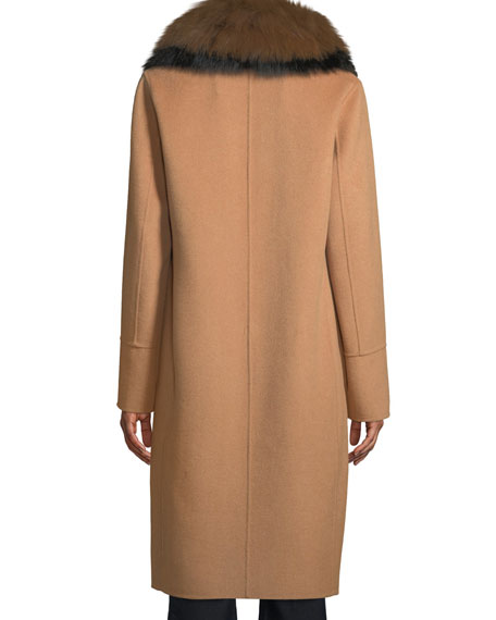 Long Wool-Blend Coat w/ Detachable Fur