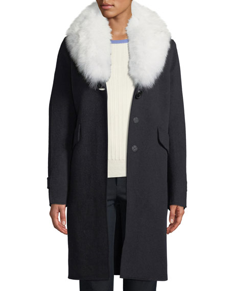 Wool-Blend Midi Coat w/ Fur Shawl Collar