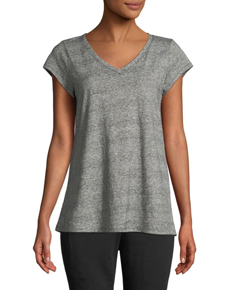 Eileen Fisher Mini Stripe Hemp/Cotton V-Neck Tee