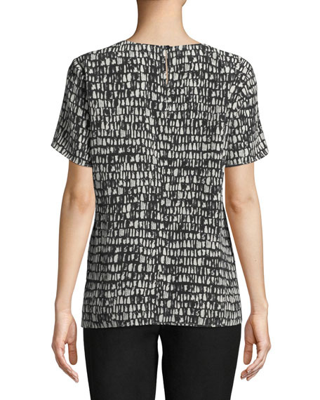 Petite Short-Sleeve Black-Bone-Print Top