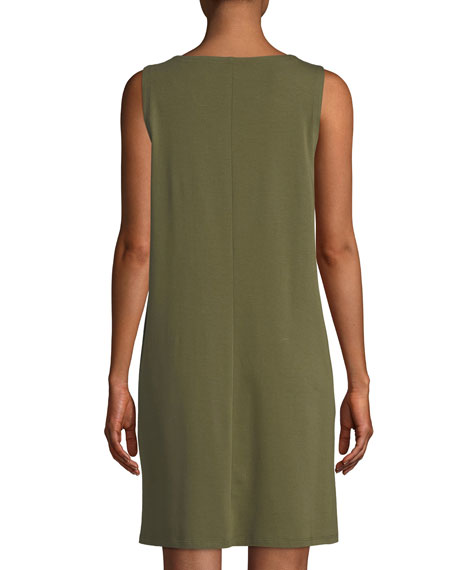 Sleeveless Bateau-Neck Shirtdress, Petite