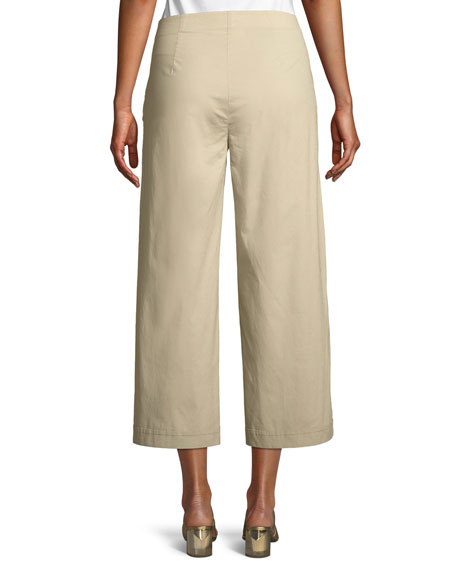 Stretch Poplin Wide-Leg Cropped Trousers