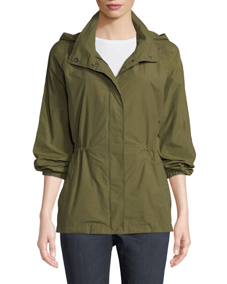 Eileen Fisher Organic Cotton-Nylon Utility Jacket with Hidden