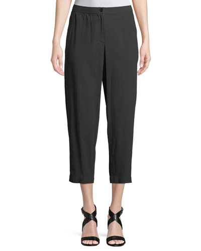 Cotton Crepe Tapered Cropped Pants