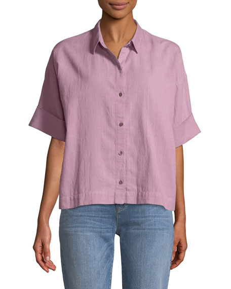 Boxy Cotton Crepe Shirt