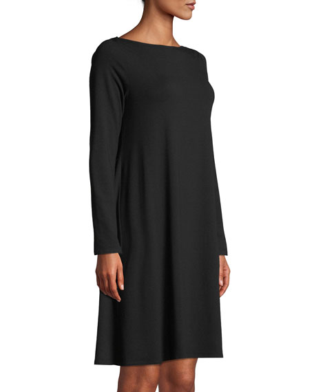 Long-Sleeve Bateau-Neck Viscose Jersey Shift Dress, Plus Size