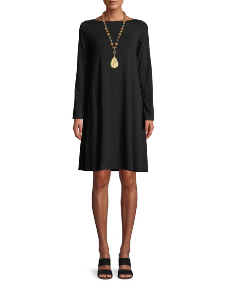Eileen Fisher Long-Sleeve Bateau-Neck Viscose Jersey Shift Dress,