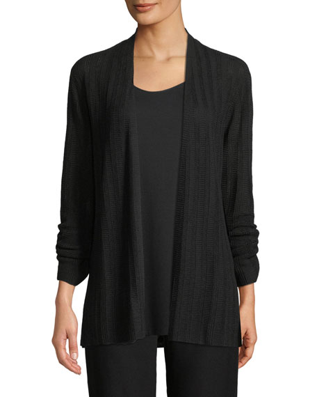 Eileen Fisher Fine Silk/Organic Linen Bell-Sleeve Cardigan and