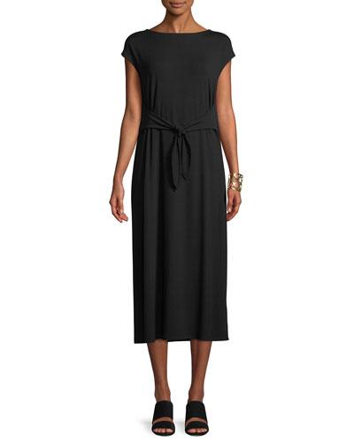 Cap-Sleeve Tie-Front Jersey Dress