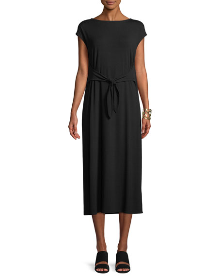 Eileen Fisher Cap-Sleeve Tie-Front Jersey Dress