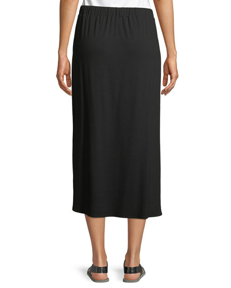 Petite Viscose Jersey Drawstring Midi Skirt