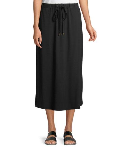 Viscose Jersey Drawstring Midi Skirt, Petite