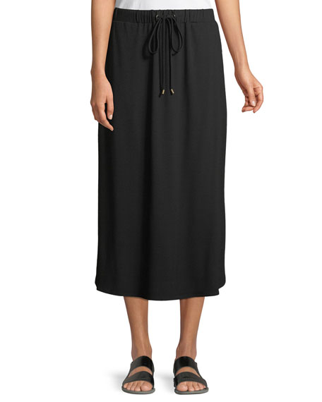 Eileen Fisher Viscose Jersey Drawstring Midi Skirt
