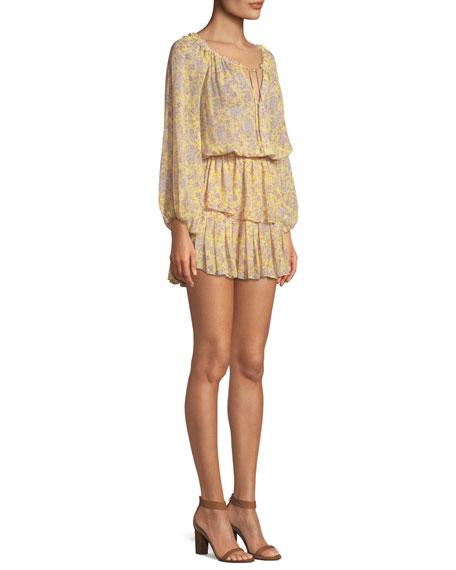 Short Off-the-Shoulder Floral-Print Silk Dress