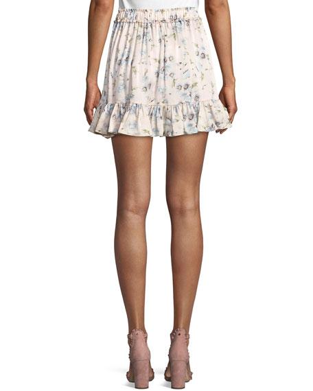 Carlotta Poppy-Print Silk Charmeuse Flounce Mini Skirt