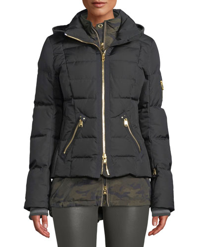 Dina Four-Piece Puffer Coat w/ Detachable Hood & Fur