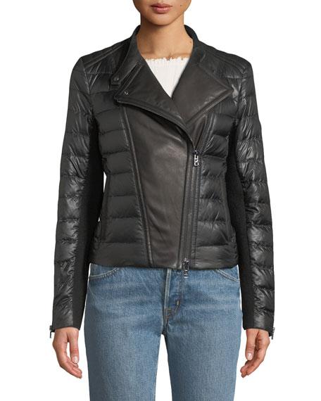 BOGNER Amy Down-Filled Puffer Moto Jacket in Black