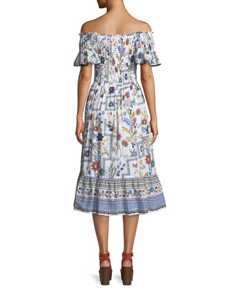 9e076055755dc Tory Burch Meadow Folly Off-the-Shoulder Floral Midi Dress | Neiman Marcus