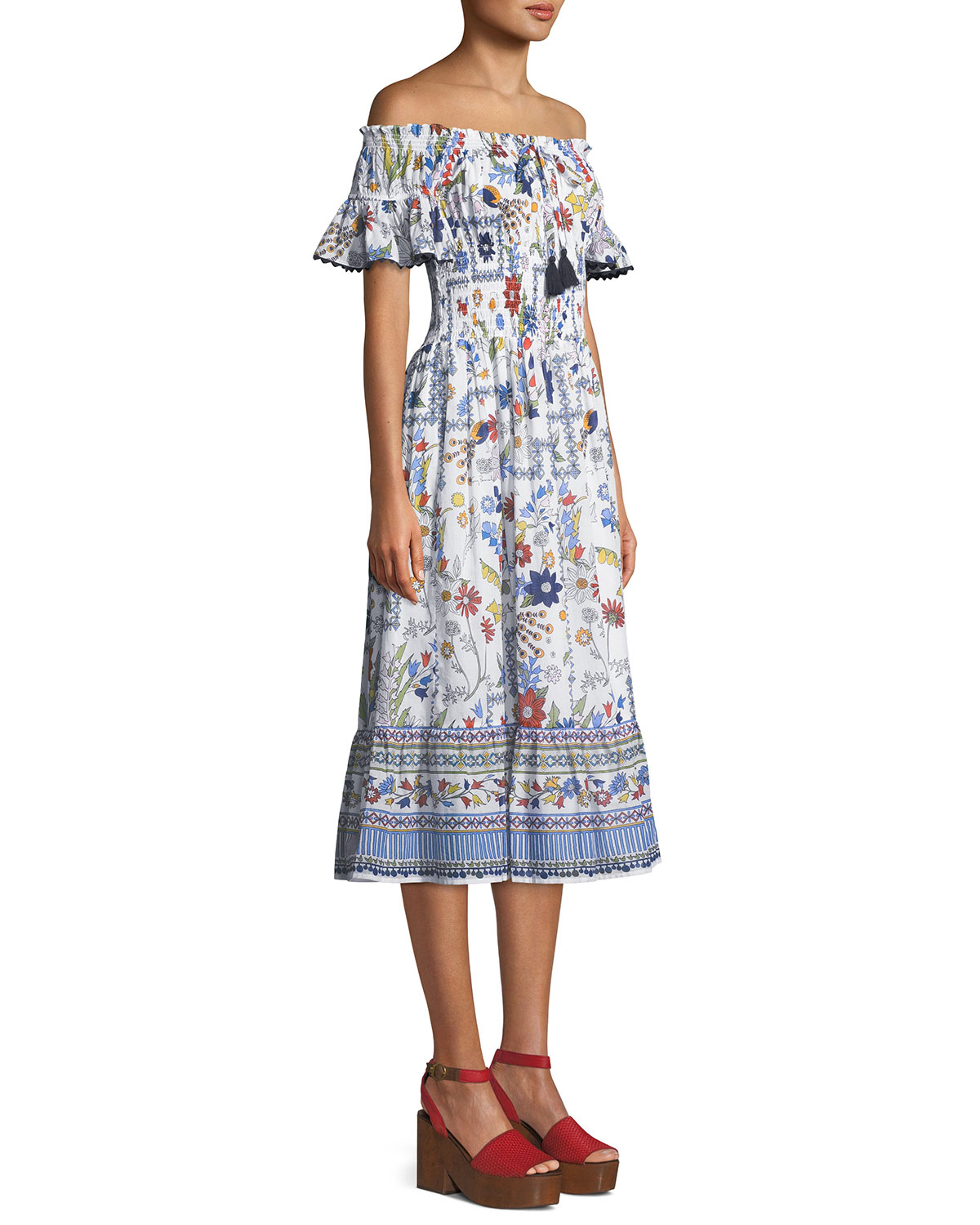 50df7c5701 Tory Burch Meadow Folly Off-the-Shoulder Floral Midi Dress | Neiman Marcus