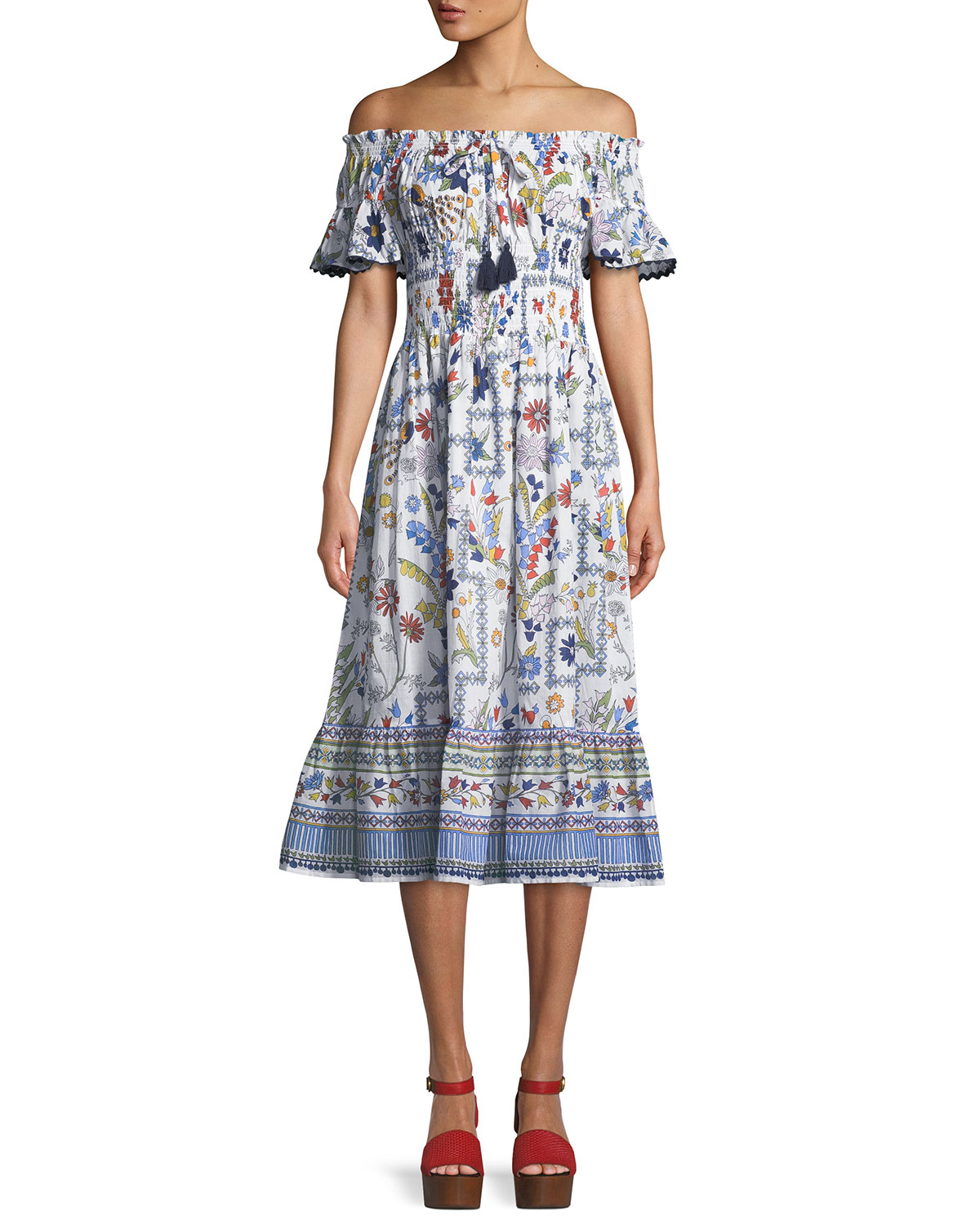 a13398afae Tory Burch Meadow Folly Off-the-Shoulder Floral Midi Dress | Neiman ...