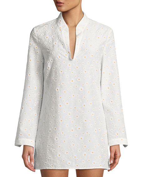 Stephanie Daisy Embroidered Coverup Tunic