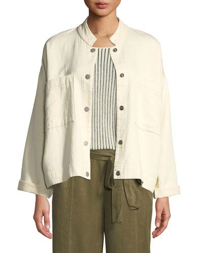 Mandarin Collar Snap-Front Channel Jacket, Plus Size