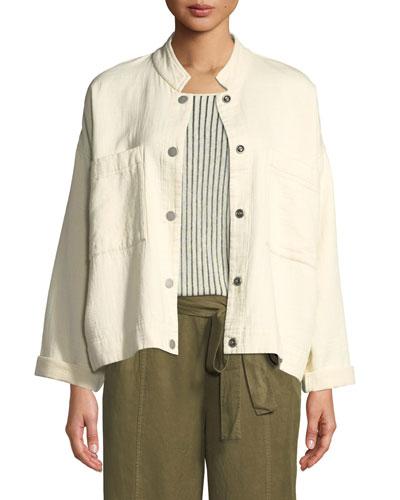 Mandarin Collar Snap-Front Channel Jacket, Petite