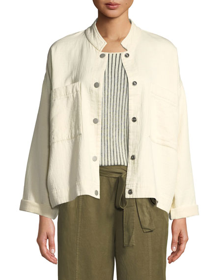Mandarin Collar Snap-Front Channel Jacket, Petite