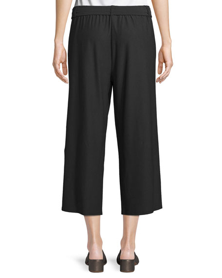 Washable Stretch Crepe Cropped Pants w/ Belt, Petite