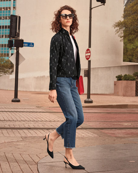 High-Rise Slim Frayed-Hem Ankle Jeans, Petite