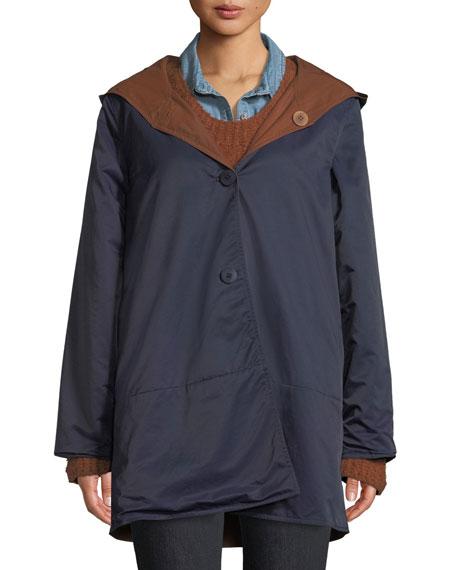 Reversible Organic Cotton/Nylon Hooded Raincoat, Plus Size