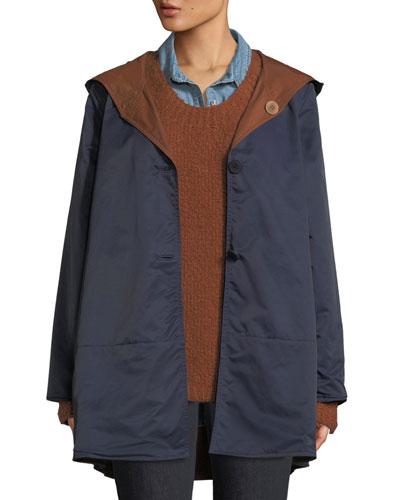Classic Reversible Hooded Raincoat, Plus Size