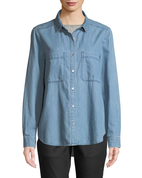 Organic Cotton Denim Pocket Shirt, Petite